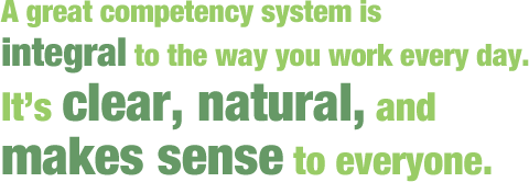 A great competency system is integral to the way you work every day. It's clear, natural, and makes sense to everyone.
